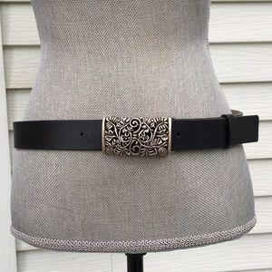 silver boho filigree buckle black leather belt
